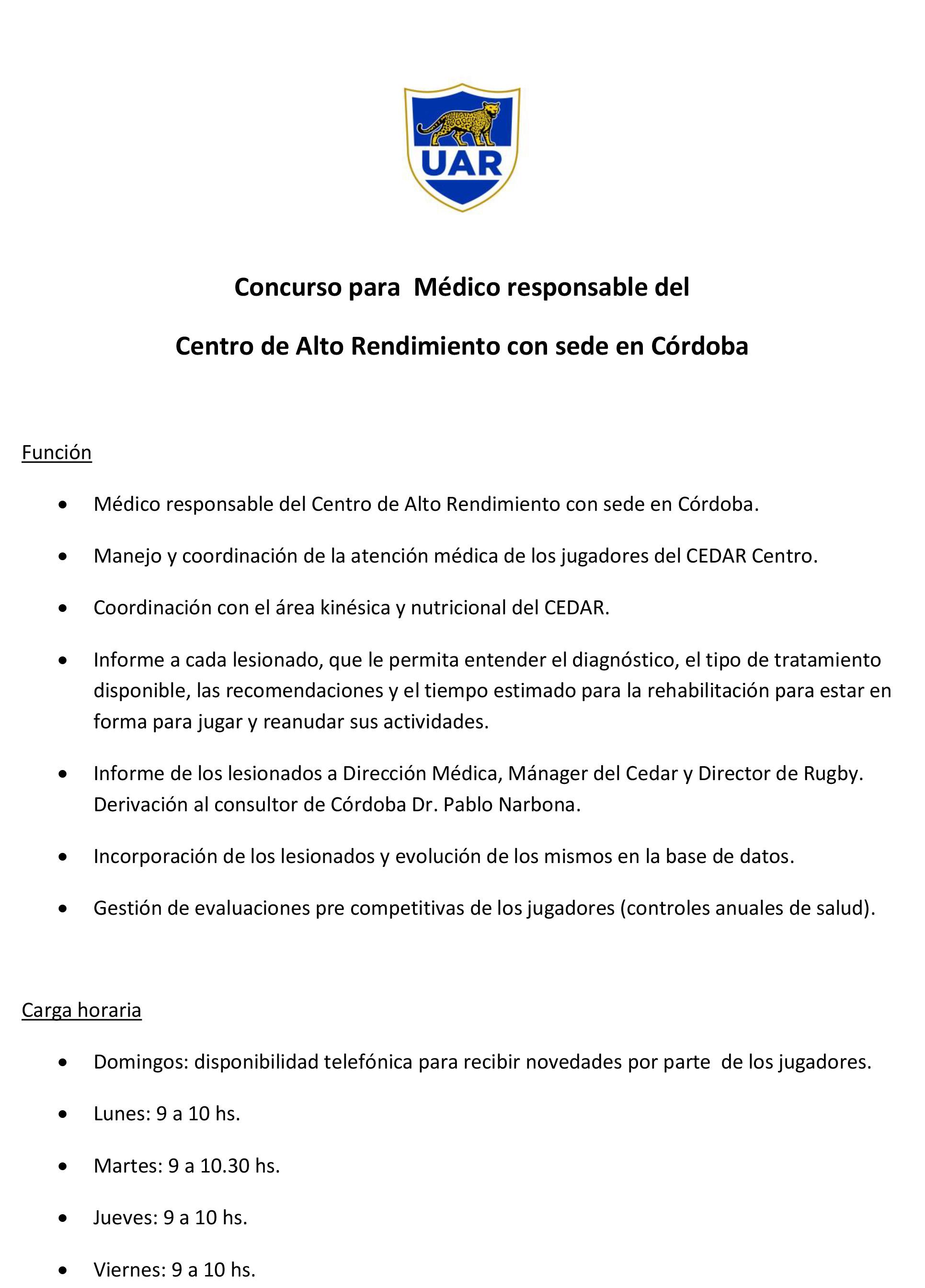 Concurso para Médico en el Pladar de Córdoba |